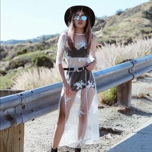 Dresses & Skirts - Floral White Sheer Dress
